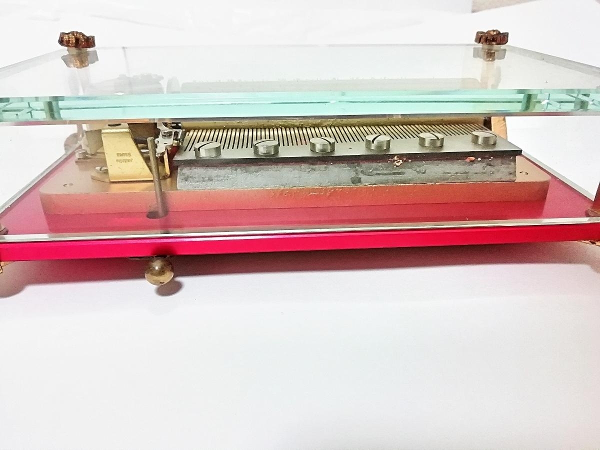 ★希少★リュージュ REUGE CH 3/72 オルゴール ガラスボックス 72弁 クリスタルBOX 動作品 _画像7
