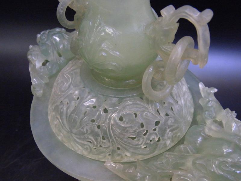 中国古玩 唐物 玉製 翡翠 獅子耳饕餮文細密透彫刻遊環香炉 細密細工 唐木台 高さ22.5cm 古美術品 2_画像5