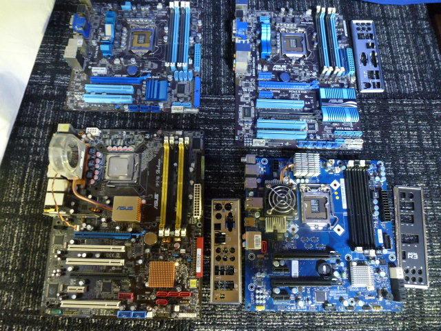 送料無料 自作PCセット P8H67-V/P7HP55D-M/他2枚 RADEON HD5870 2台 GTX470 グラボ5枚//1TB HDD 4台/電源ユニット/ジャンクにて