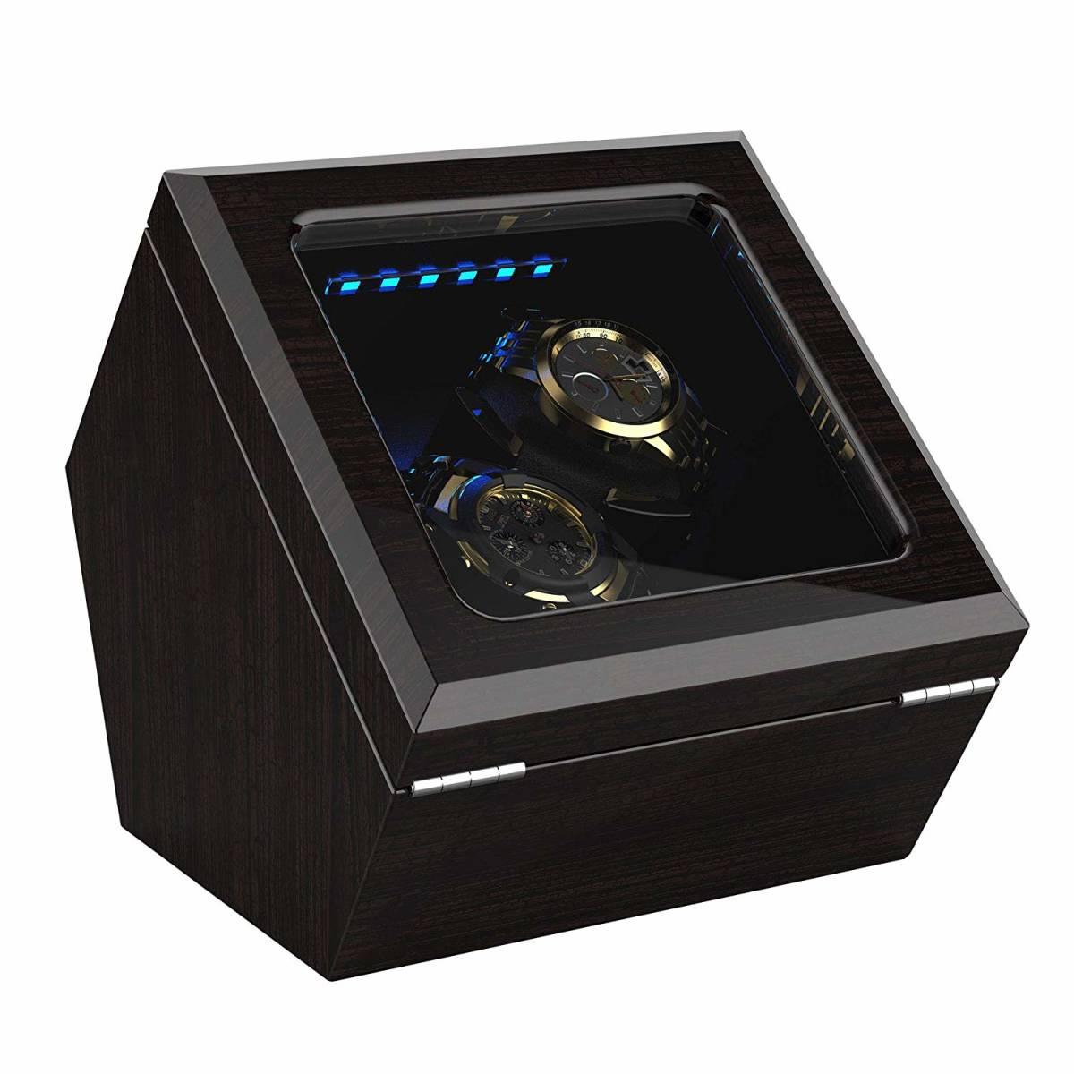 【新品・未使用】ワインディングマシーン 腕時計 自動巻き器 ウォッチワインダー2本巻き上げ LEDライト付 日本語説明書