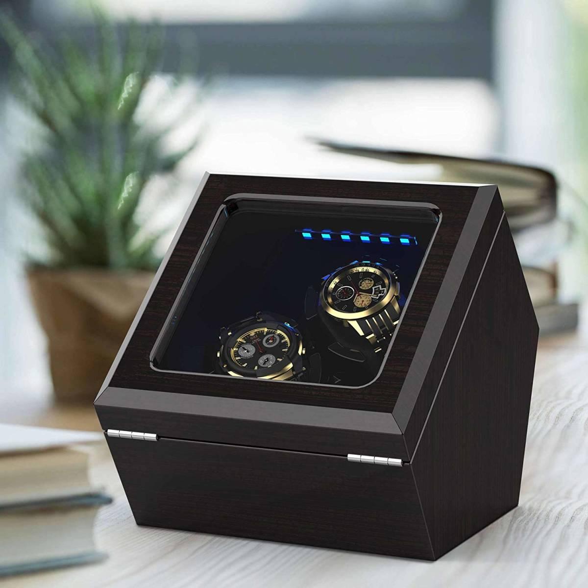 【新品・未使用】ワインディングマシーン 腕時計 自動巻き器 ウォッチワインダー2本巻き上げ LEDライト付 日本語説明書_画像4