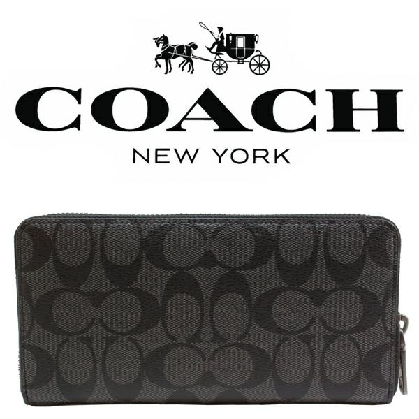 送料無料♪コーチ長財布●シグネチャー PVC レザー・チャコールブラック・F75000●COACHアウトレット・新品・未使用品♪_画像3