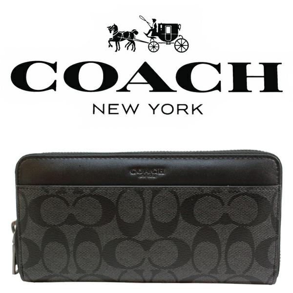 送料無料♪コーチ長財布●シグネチャー PVC レザー・チャコールブラック・F75000●COACHアウトレット・新品・未使用品♪_画像1