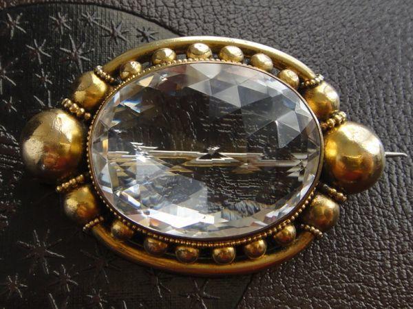 アンティーク 天然大粒水晶! 19世紀 ヴィクトリアン ロッククリスタルのブローチ 大型水晶 私物より イギリス購入品 本物保証_画像2