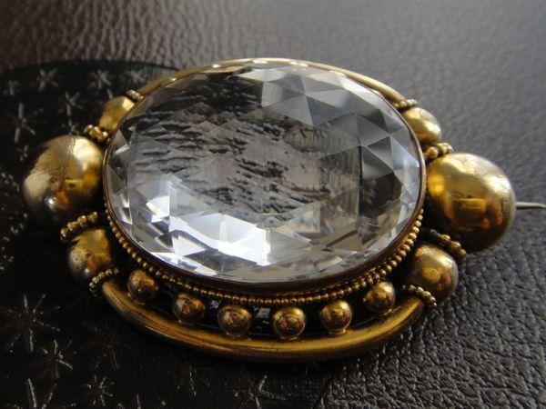 アンティーク 天然大粒水晶! 19世紀 ヴィクトリアン ロッククリスタルのブローチ 大型水晶 私物より イギリス購入品 本物保証_画像7