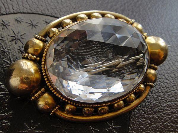 アンティーク 天然大粒水晶! 19世紀 ヴィクトリアン ロッククリスタルのブローチ 大型水晶 私物より イギリス購入品 本物保証_画像6