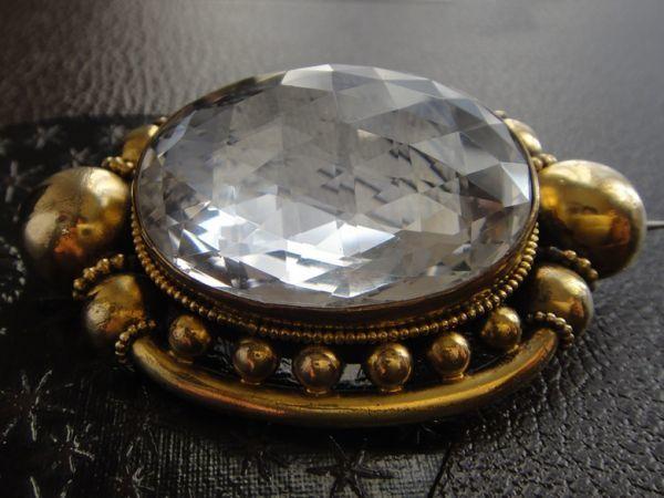 アンティーク 天然大粒水晶! 19世紀 ヴィクトリアン ロッククリスタルのブローチ 大型水晶 私物より イギリス購入品 本物保証_画像5