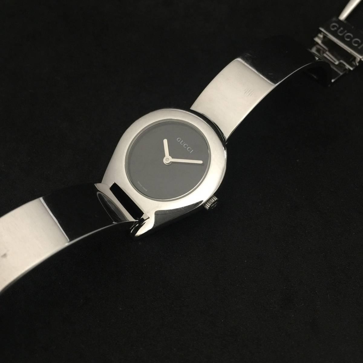 【1円良品】GUCCI グッチ 腕時計 レディース 6700L バングル ブラック ミラーダイヤル 可動品_画像8
