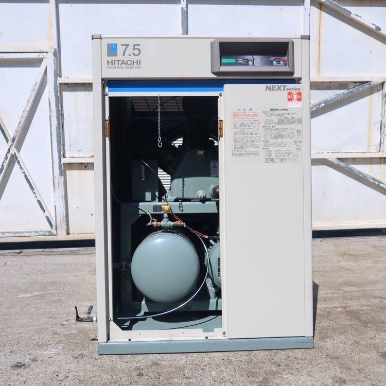 ☆ 中古 日立 小型空気圧縮機 ベビコン 7.5KW エアコンプレッサー PB-7.5MN6 3相 200V 60Hz ☆ 953時間_画像2