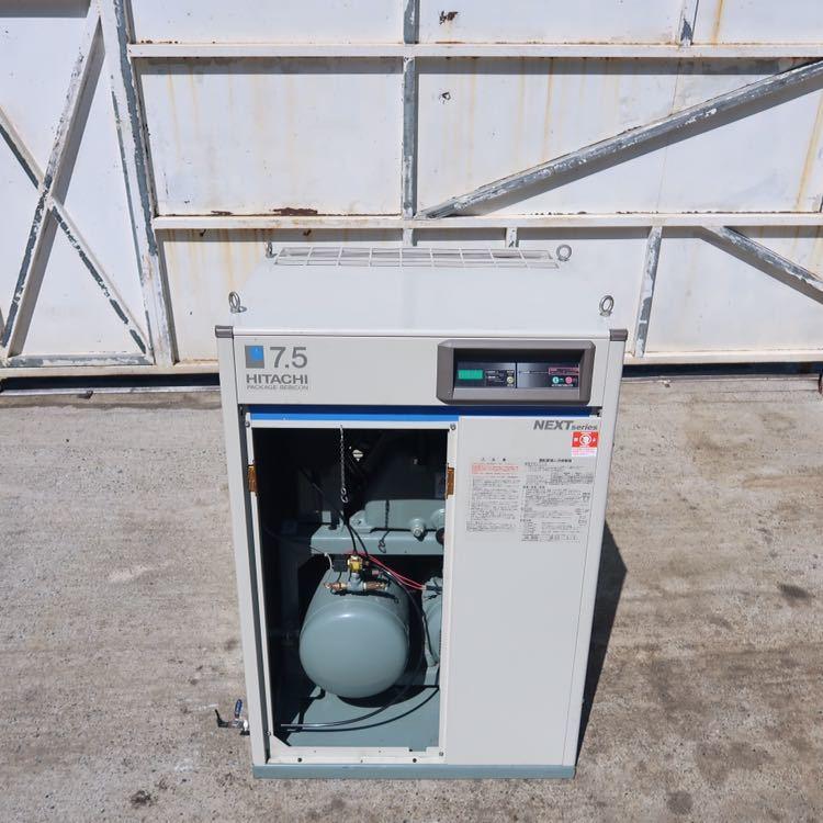☆ 中古 日立 小型空気圧縮機 ベビコン 7.5KW エアコンプレッサー PB-7.5MN6 3相 200V 60Hz ☆ 953時間_画像3