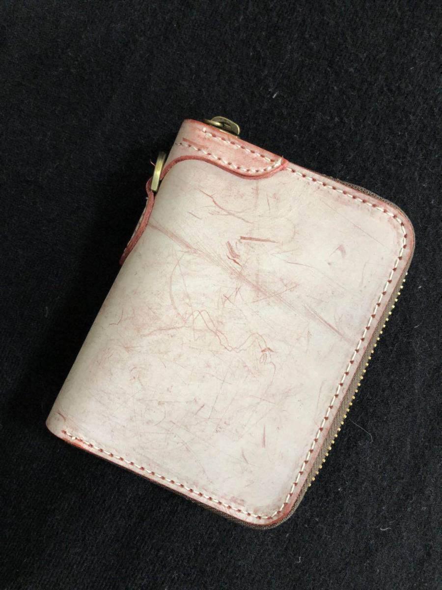 手作りブライドルレザーラウンドファスナー短財布 カードケース コインケース/ワインレッド
