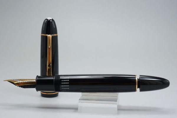 【たぶん未使用・極上】1960s ヴィンテージ モンブラン 149 M 18c 帯 中金 エボナイトペン芯 縦溝 なで肩 万年筆 本物保証_画像7