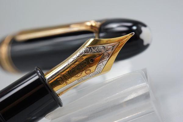 【たぶん未使用・極上】1960s ヴィンテージ モンブラン 149 M 18c 帯 中金 エボナイトペン芯 縦溝 なで肩 万年筆 本物保証_画像5