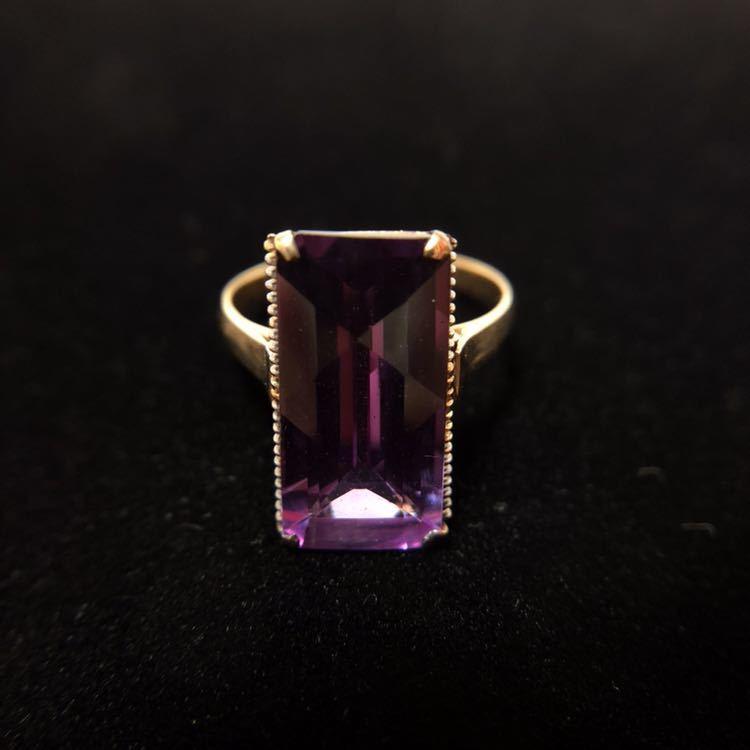 K18 リング 18金 指輪 13号 昭和 レトロ 千本透かし アメジスト 紫水晶_画像1
