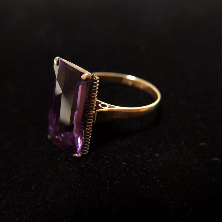 K18 リング 18金 指輪 13号 昭和 レトロ 千本透かし アメジスト 紫水晶_画像2