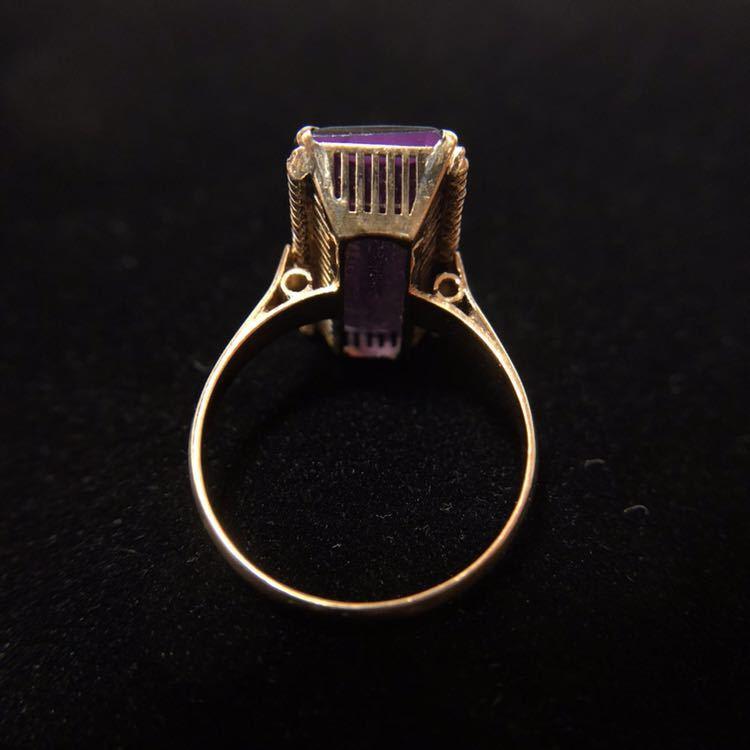 K18 リング 18金 指輪 13号 昭和 レトロ 千本透かし アメジスト 紫水晶_画像3