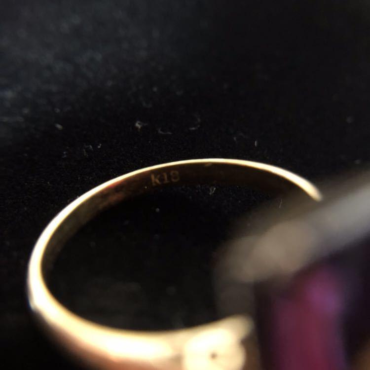 K18 リング 18金 指輪 13号 昭和 レトロ 千本透かし アメジスト 紫水晶_画像5