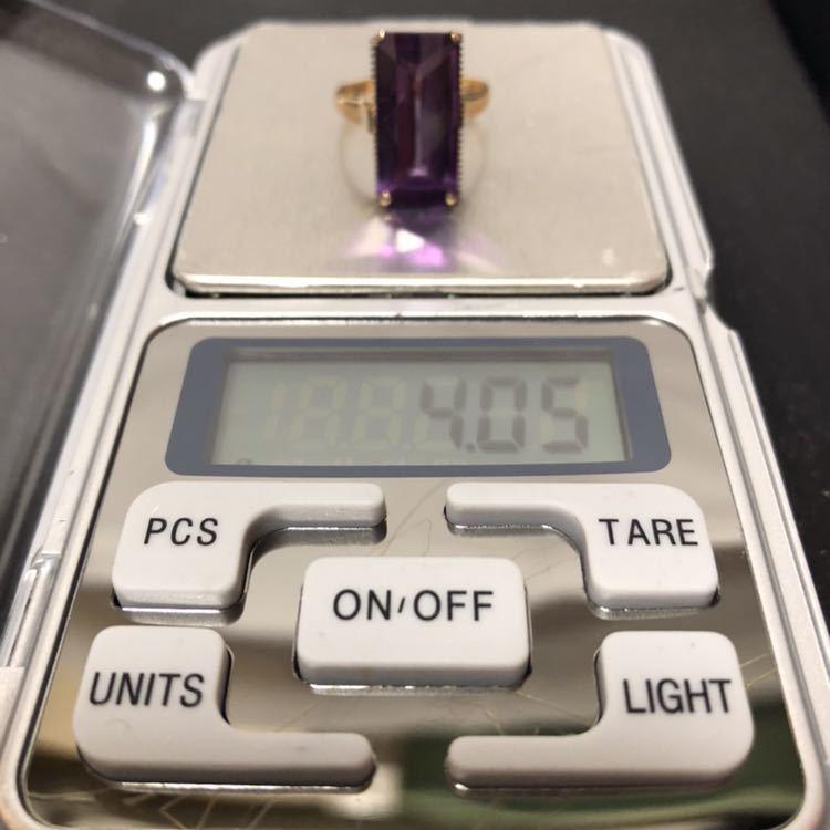 K18 リング 18金 指輪 13号 昭和 レトロ 千本透かし アメジスト 紫水晶_画像6