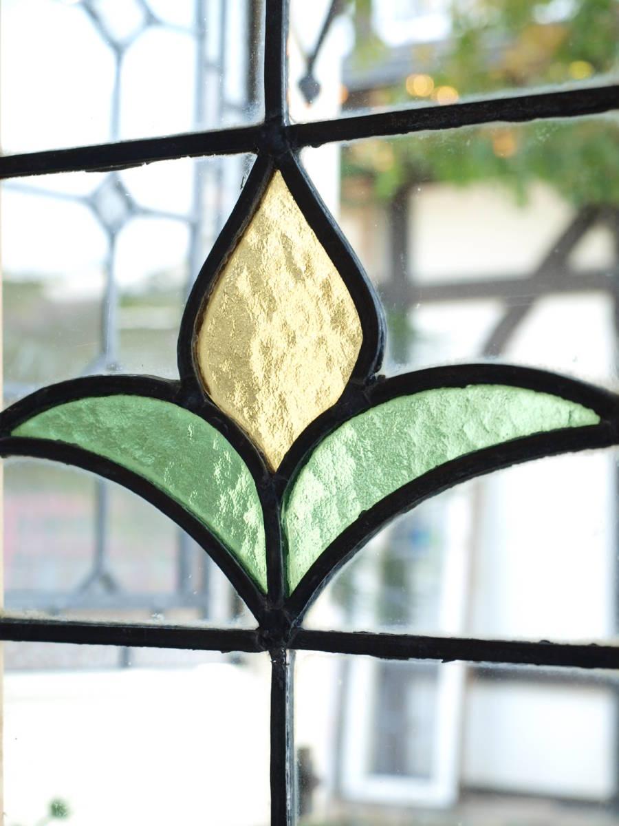 ■可愛い黄色のつぼみ アンティークステンドグラス01 花柄 英国 イギリス 窓 ドア 建具 内装に■送料無料_画像4
