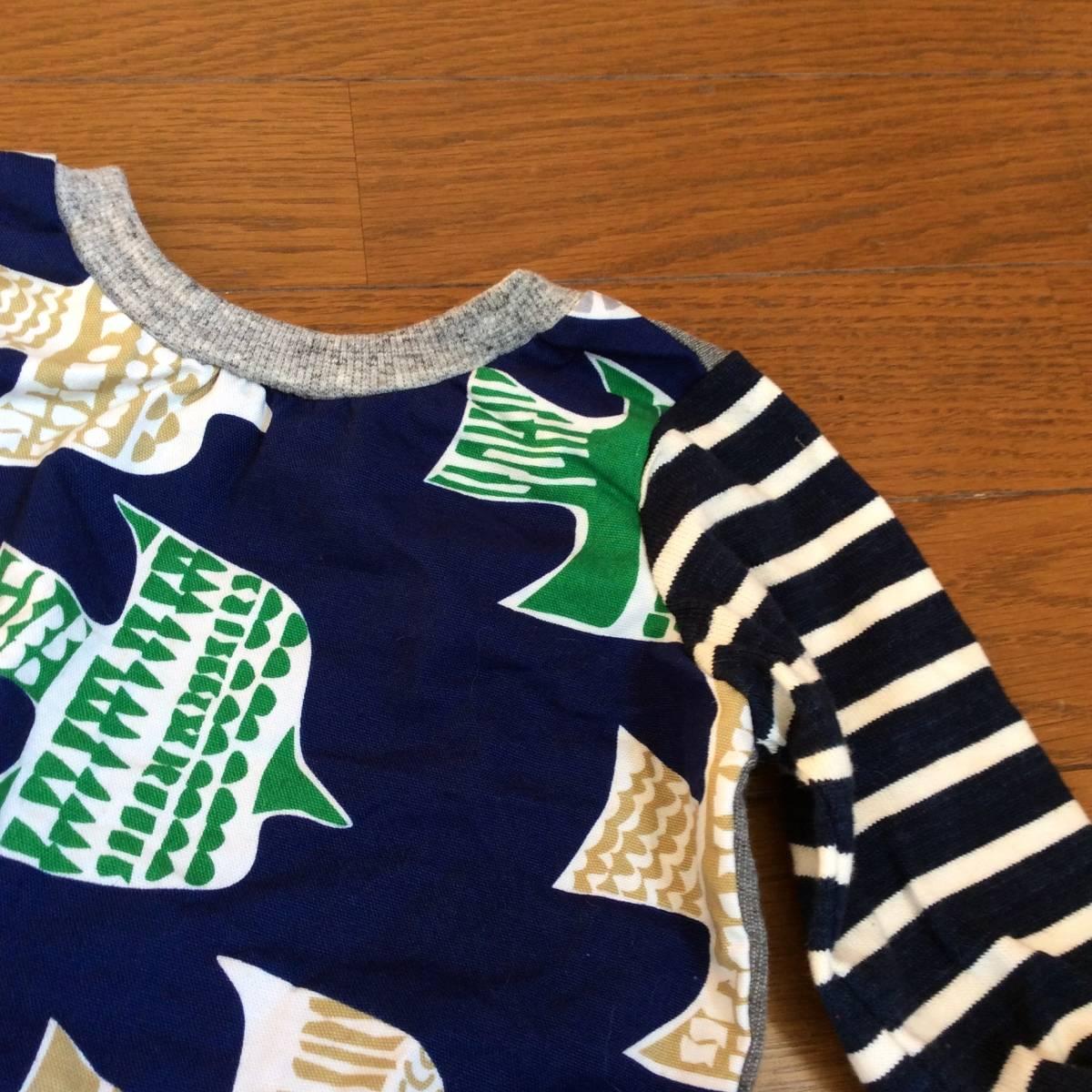 日々の服*ハンドメイド*切り替えT6分袖 100/ブルー、グレー、バード、鳥、ネイビー、グリーン_画像2