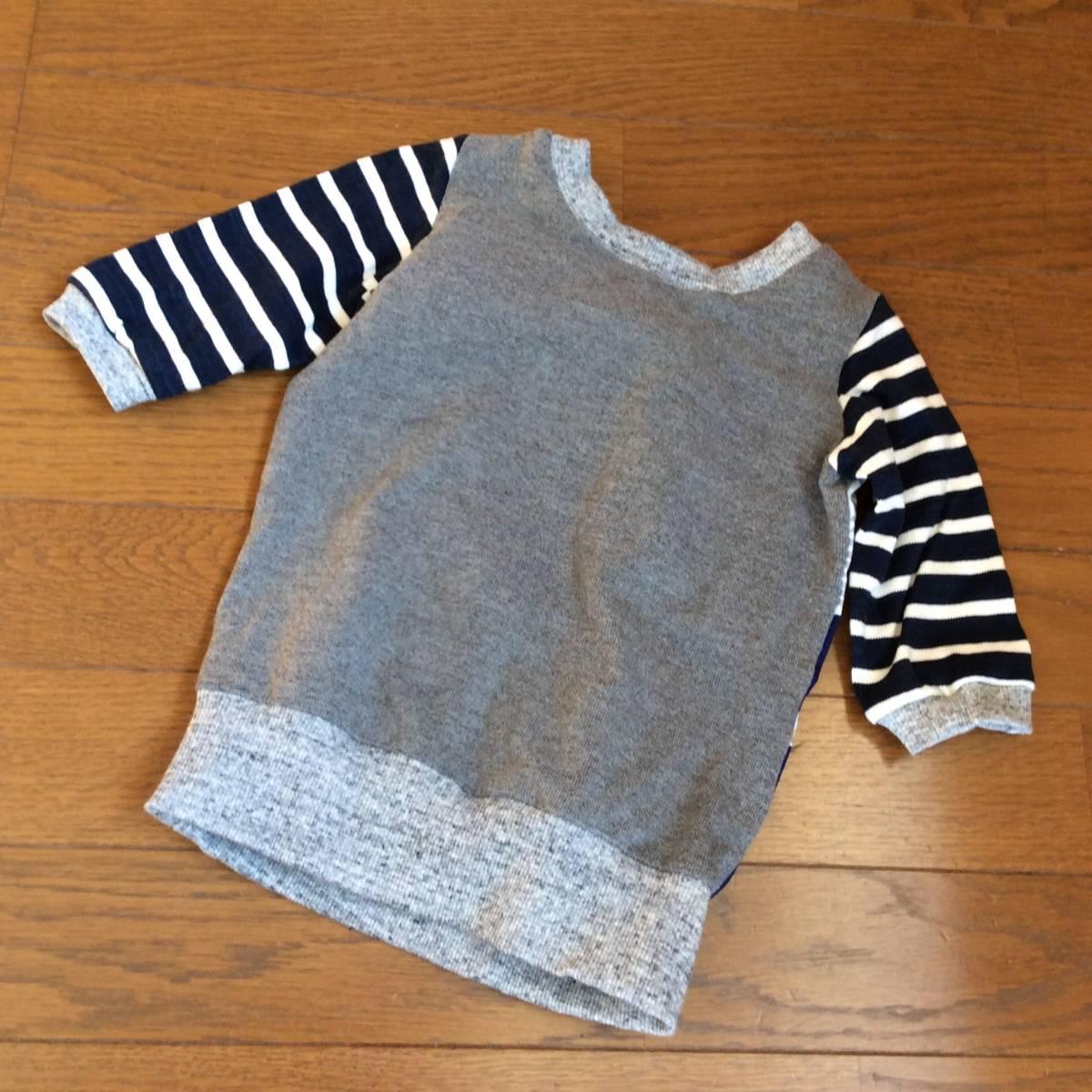 日々の服*ハンドメイド*切り替えT6分袖 100/ブルー、グレー、バード、鳥、ネイビー、グリーン_画像4