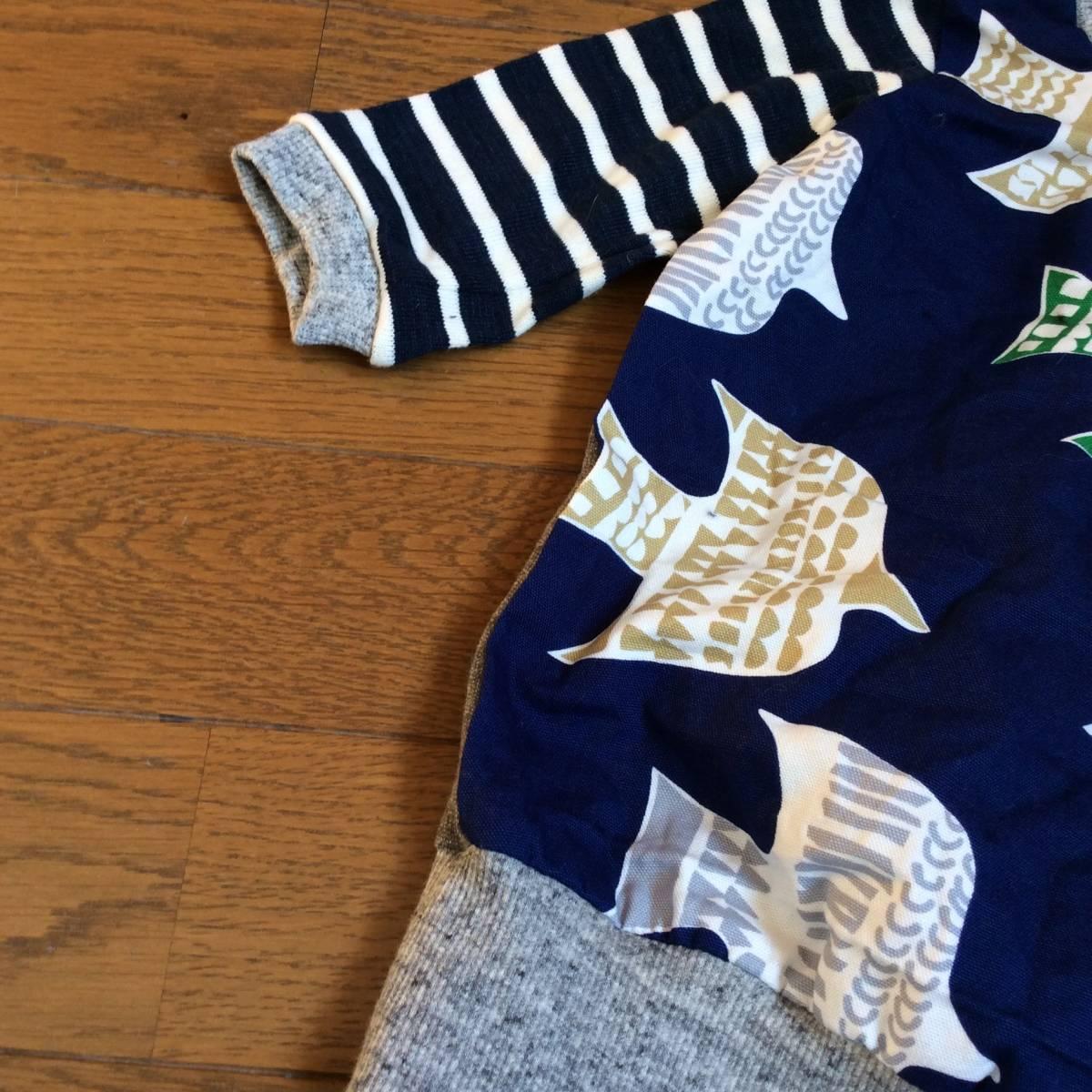 日々の服*ハンドメイド*切り替えT6分袖 100/ブルー、グレー、バード、鳥、ネイビー、グリーン_画像3