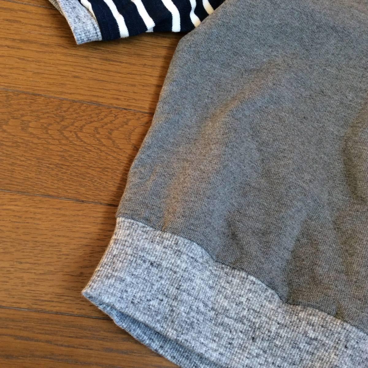 日々の服*ハンドメイド*切り替えT6分袖 100/ブルー、グレー、バード、鳥、ネイビー、グリーン_画像6
