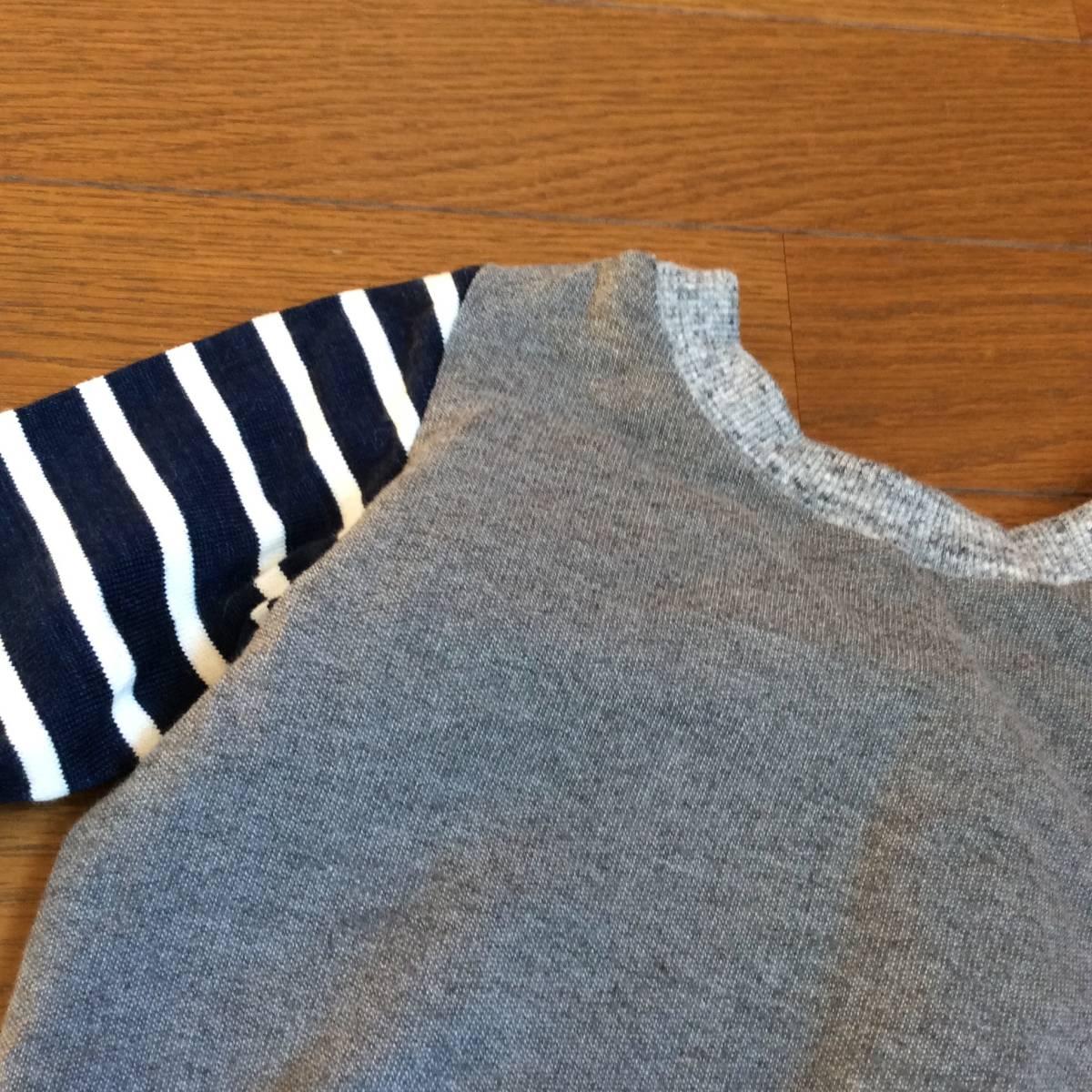 日々の服*ハンドメイド*切り替えT6分袖 100/ブルー、グレー、バード、鳥、ネイビー、グリーン_画像5