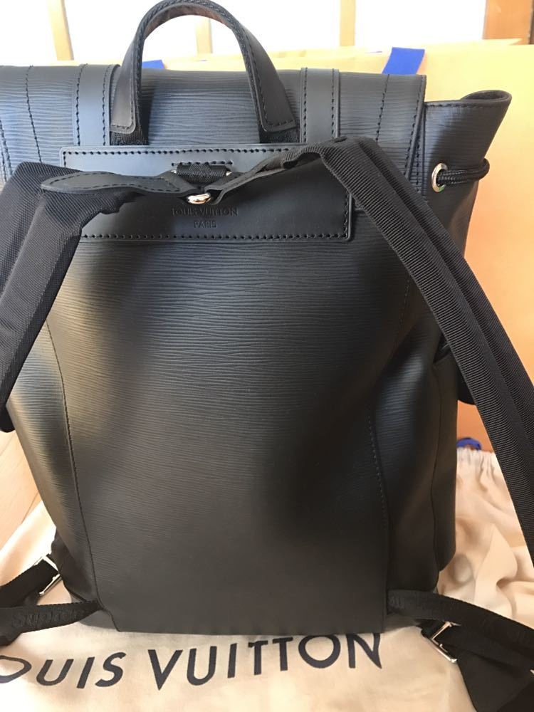 Louis Vuitton Supreme ルイヴィトン×シュプリーム 17aw エピ クリストファーPM バックパック リュック ブラック 黒_画像3