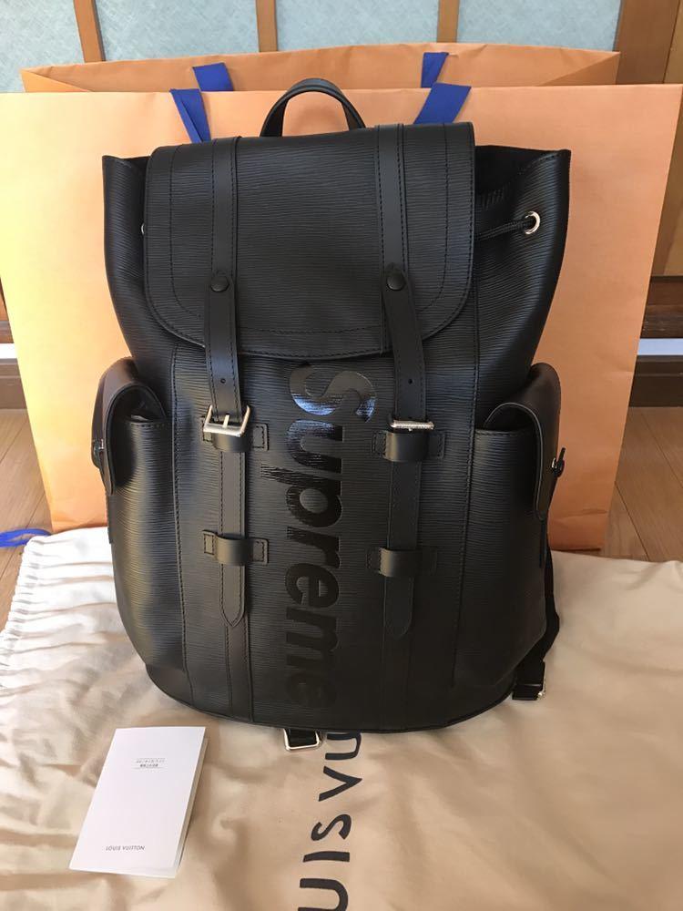 Louis Vuitton Supreme ルイヴィトン×シュプリーム 17aw エピ クリストファーPM バックパック リュック ブラック 黒_画像1