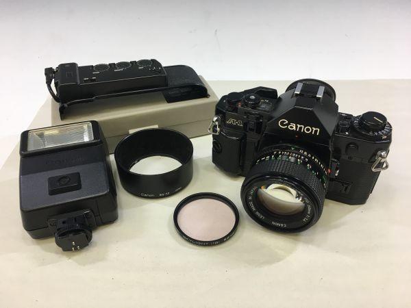 M402-52/HY3000 Canon キャノン A-1 50㎜ 1:1.4 《データバック・フラッシュ・レンズフード・フィルタ付》一眼レフ 中古カメラ