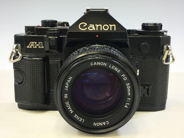 M402-52/HY3000 Canon キャノン A-1 50㎜ 1:1.4 《データバック・フラッシュ・レンズフード・フィルタ付》一眼レフ 中古カメラ_画像2
