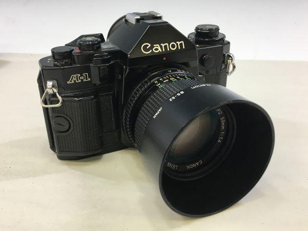M402-52/HY3000 Canon キャノン A-1 50㎜ 1:1.4 《データバック・フラッシュ・レンズフード・フィルタ付》一眼レフ 中古カメラ_画像8