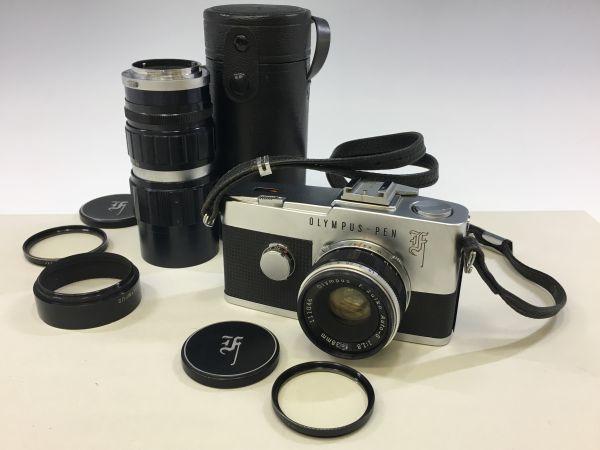 M501-3/MM3000 オリンパス OLYMPUS ペンF PEN F+レンズ2点! ☆ 1:1.8 F=38mm/ 1:3.5 F=50-90mm ★中古カメラ コンパクト一眼