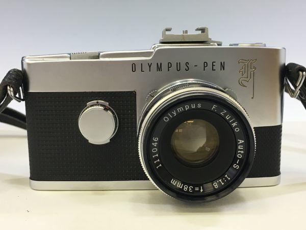 M501-3/MM3000 オリンパス OLYMPUS ペンF PEN F+レンズ2点! ☆ 1:1.8 F=38mm/ 1:3.5 F=50-90mm ★中古カメラ コンパクト一眼  _画像2