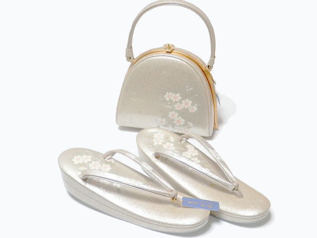 《SAI659》 螺鈿入り/金彩/エナメル/手作りオリジナル・天津風「和装草履・バッグセット」未使用品_画像2