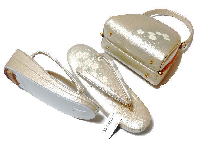 《SAI659》 螺鈿入り/金彩/エナメル/手作りオリジナル・天津風「和装草履・バッグセット」未使用品_画像3