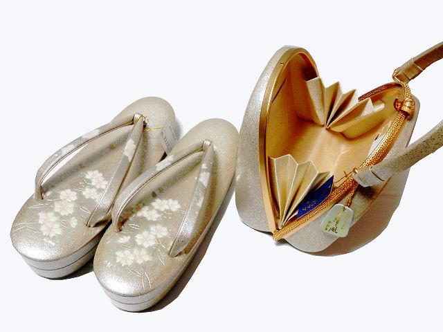 《SAI659》 螺鈿入り/金彩/エナメル/手作りオリジナル・天津風「和装草履・バッグセット」未使用品_画像4