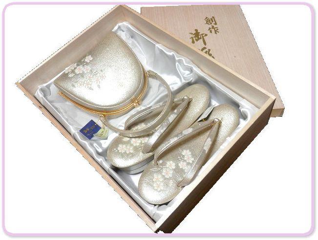 《SAI659》 螺鈿入り/金彩/エナメル/手作りオリジナル・天津風「和装草履・バッグセット」未使用品