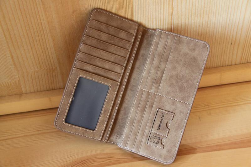 新登場 長財布 メンズ 小銭入れ 免許証カード入れ カード 収納 コンパクト 柔らかいレザー二つ折り長財布 紳士ブラウン_画像2