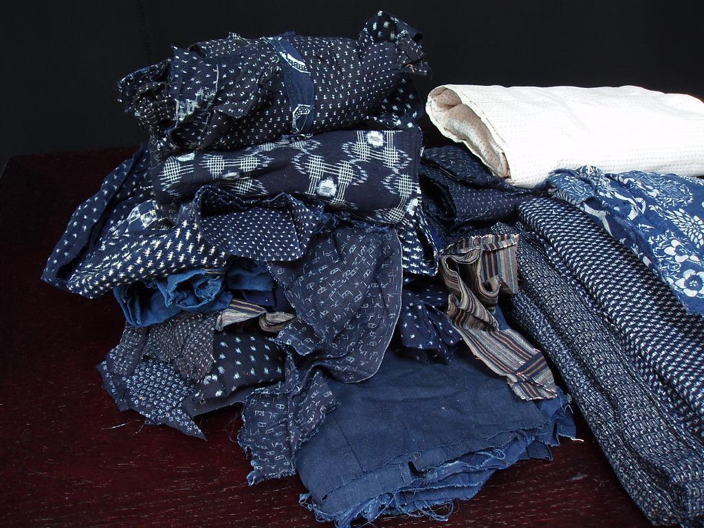 【木綿書生絣】着物羽織はぎれまとめて_画像2