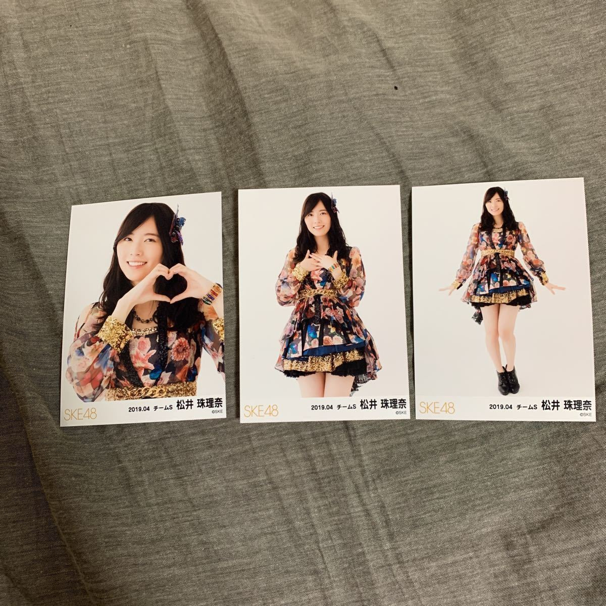 SKE48 松井珠理奈 2019年4月度 月別 ランダム 生写真 3枚 コンプ