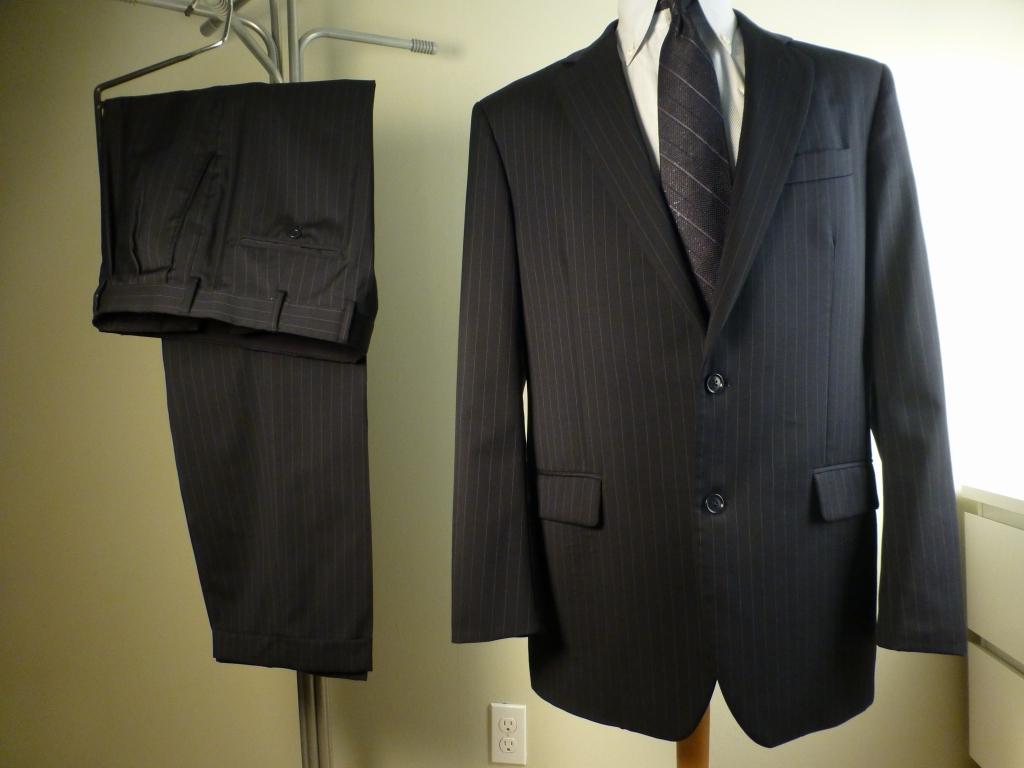 ◆ブルックスブラザーズ スーツ 42L 紺ストライプ イタリア生地 Madison_画像1