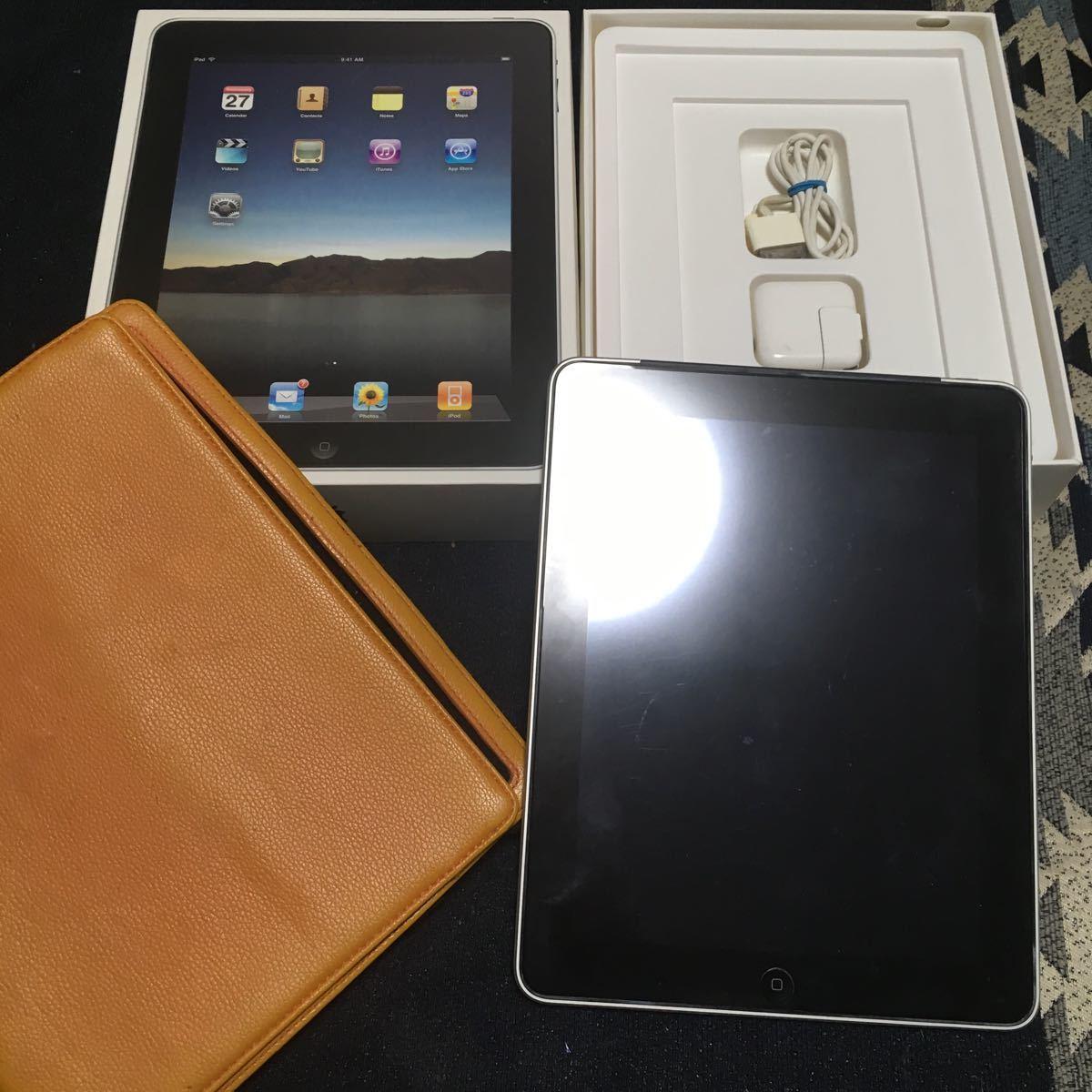 ジャンク品 APPLE 初代iPad Wi-Fi+3G SoftBank 64GB 9.7インチ MC497J/A 中古ケース付き_画像1