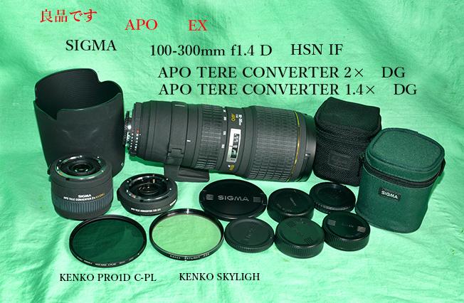 シグマ SIGMA APO 100-300 mm F4D 並びに テレコンバーター1.4× 2.0× 良品です