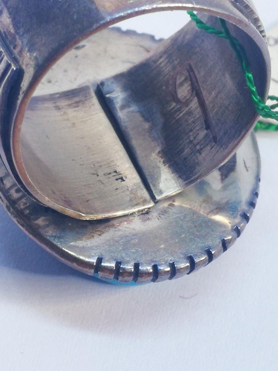 USAインディアンジュエリーナバホ族Navajo 天然石リングサイズ10指輪ジュエリースターリングシルバー重量14.1gターコイズ定価¥18360値下げ_画像8