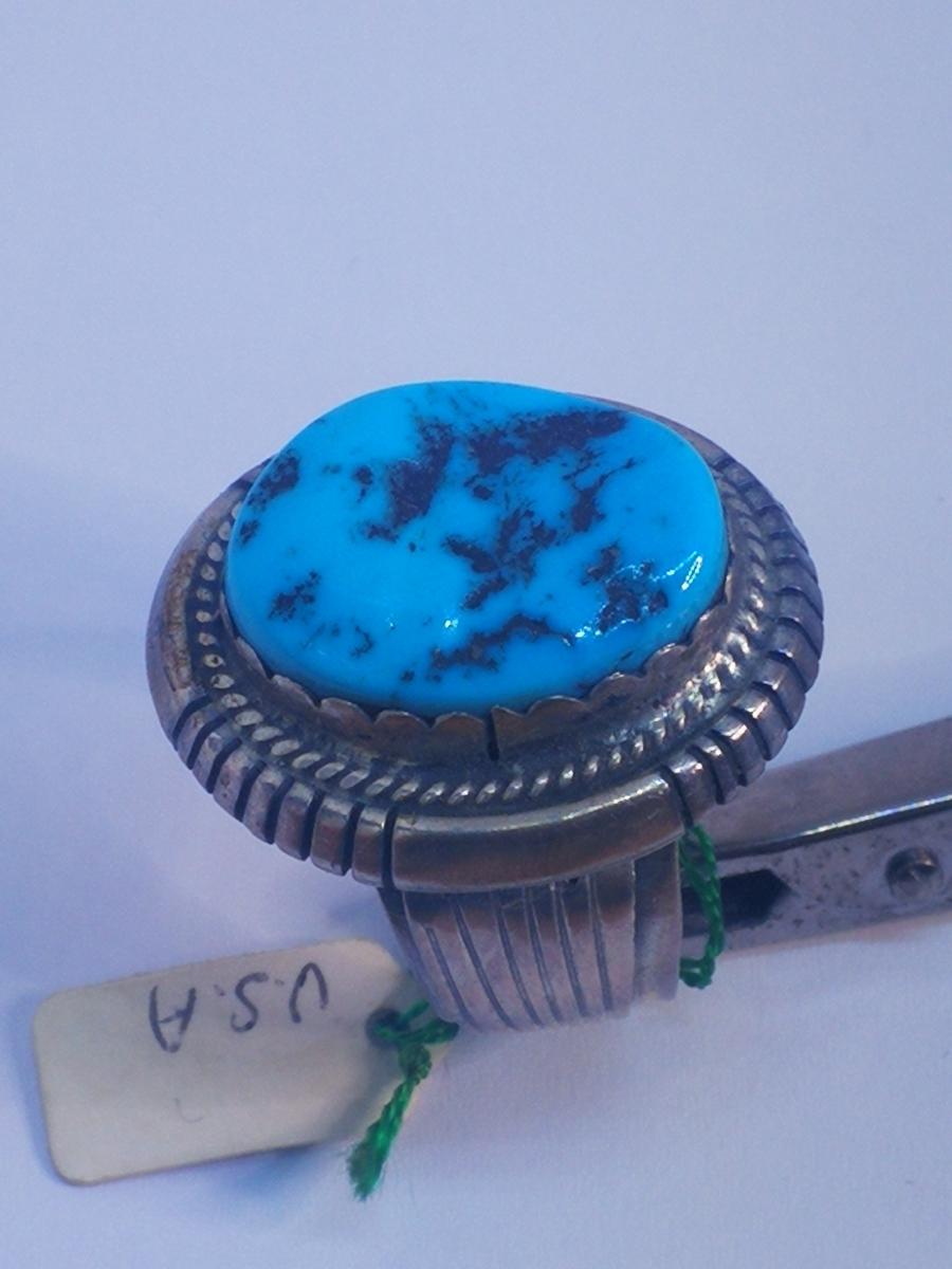USAインディアンジュエリーナバホ族Navajo 天然石リングサイズ10指輪ジュエリースターリングシルバー重量14.1gターコイズ定価¥18360値下げ_画像4
