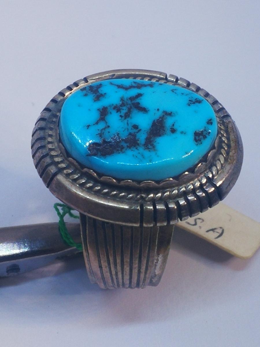 USAインディアンジュエリーナバホ族Navajo 天然石リングサイズ10指輪ジュエリースターリングシルバー重量14.1gターコイズ定価¥18360値下げ_画像6