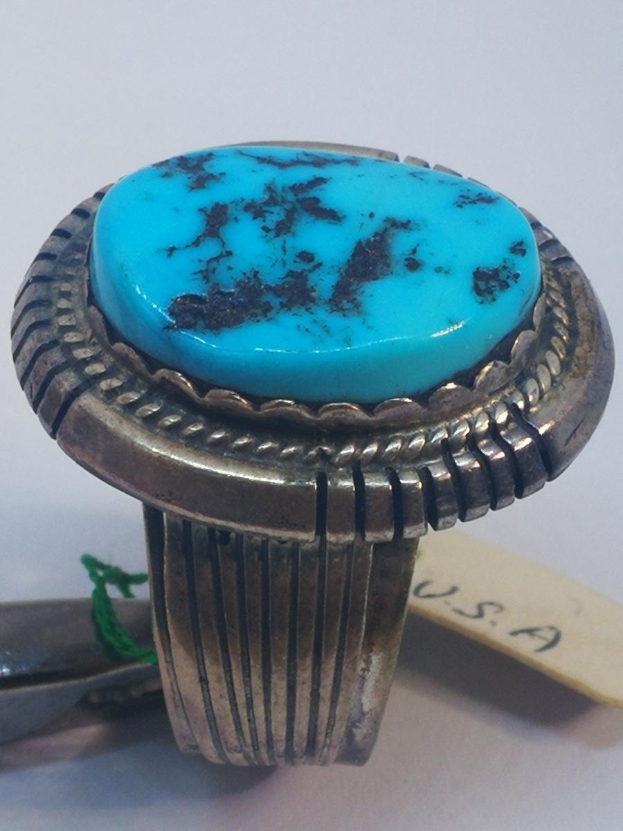USAインディアンジュエリーナバホ族Navajo 天然石リングサイズ10指輪ジュエリースターリングシルバー重量14.1gターコイズ定価¥18360値下げ_画像7
