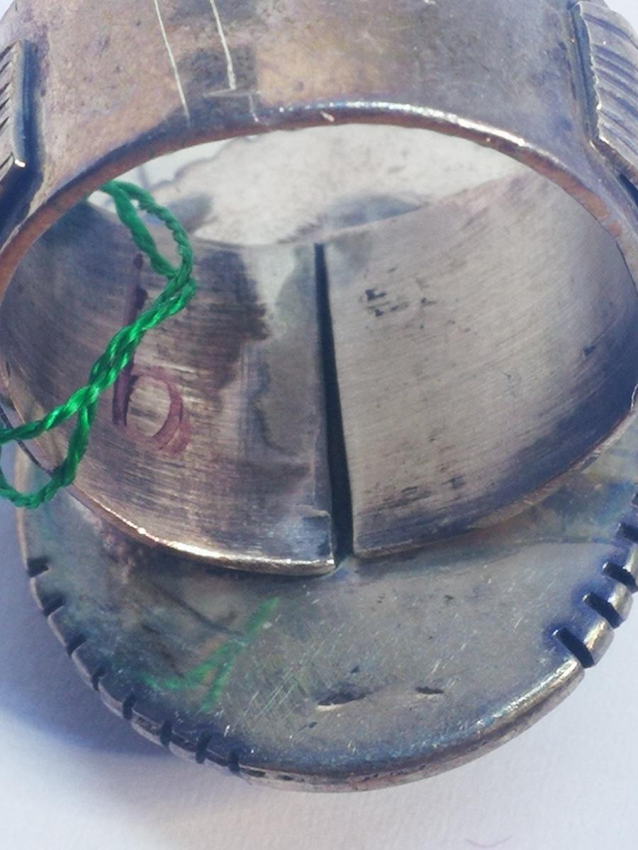 USAインディアンジュエリーナバホ族Navajo 天然石リングサイズ10指輪ジュエリースターリングシルバー重量14.1gターコイズ定価¥18360値下げ_画像9